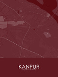 Kanpur, India Red Map Poster