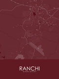 Ranchi, India Red Map Poster