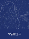 Nashville, United States of America Blue Map Posters