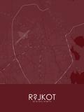 Rajkot, India Red Map Pôsters