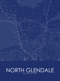 North Glendale, United States of America Blue Map Posters