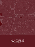 Nagpur, India Red Map Pôsters