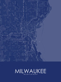 Milwaukee, United States of America Blue Map Posters