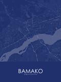 Bamako, Mali Blue Map Posters