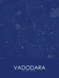 Vadodara, India Blue Map Posters