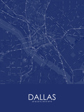 Dallas, United States of America Blue Map Posters