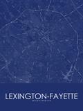 Lexington-Fayette, United States of America Blue Map Plakater
