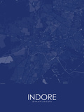Indore, India Blue Map Pôsters