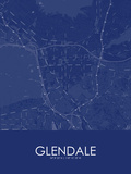 Glendale, United States of America Blue Map Posters
