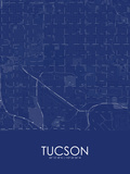 Tucson, United States of America Blue Map Posters