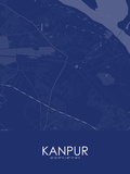 Kanpur, India Blue Map Fotografia