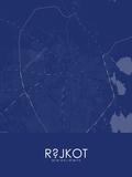 Rajkot, India Blue Map Poster