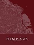 Buenos Aires, Argentina Red Map Fotografia