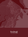 Thane, India Red Map Posters