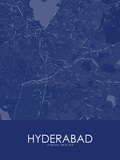 Hyderabad, India Blue Map Posters