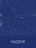 Nagpur, India Blue Map Pôsteres