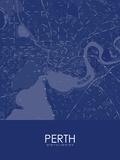Perth, Australia Blue Map Kunstdrucke