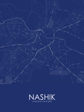 Nashik, India Blue Map Fotografia