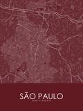 Sao Paulo, Brazil Red Map Photo