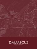 Damascus, Syrian Arab Republic(Syria) Red Map Kunstdrucke