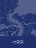 Lagos, Nigeria Blue Map Poster