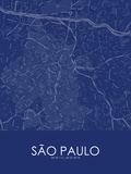 Sao Paulo, Brazil Blue Map Pôsteres