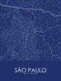 Sao Paulo, Brazil Blue Map Posters