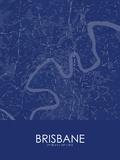Brisbane, Australia Blue Map Kunstdrucke