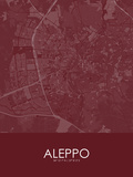 Aleppo, Syrian Arab Republic (Syria) Red Map Pôsters