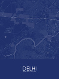 Delhi, India Blue Map Prints