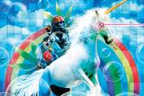 Singe sous acide avec licorne et arc-en-ciel Posters