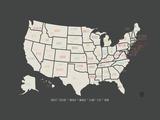 Kaart van de VS - zwarte achtergrond Foto van Rebecca Peragine