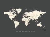 Schwarze Landkarte, Welt Kunstdrucke von Rebecca Peragine