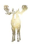 Gold Foil Standing Moose Prints by Ethan Harper