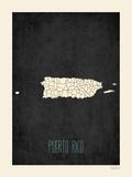 Mapa preto - Porto Rico Pôsters por Rebecca Peragine