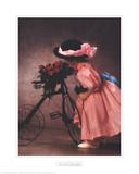 Justine Smelling Roses on Bike Reproduction pour collectionneur par Anne Geddes
