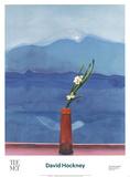Mont Fuji et fleurs Affiches par David Hockney