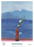 Mount Fuji and Flowers Poster van David Hockney