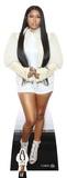 Nicki Minaj - Chaqueta de pelo blanca (incluye figura de cartón mini) Figura de cartón
