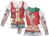Womens Long Sleeve: Christmas Biker Costume Tee Langärmelige T-Shirts für Damen