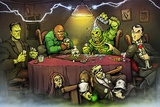 Monsters Playing Poker Posters van  Big Chris Art