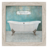 Wood Framed Aqua Bath Posters par Victoria Brown
