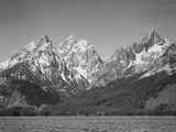 """Grassy Valley Tree Covered Mt Side And Snow Covered Peaks Grand """"Teton NP"""" Wyoming 1933-1942 ポスター : アンセル・アダムス"""