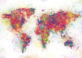 Kleurrijke wereldkaart bestaand uit verfspatten Affiches