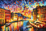 Leonid Afremov - Canal Grande i Venedig Affischer av Leonid Afremov