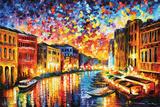 Leonid Afremov - Het Canal Grande in Venetië Poster van Leonid Afremov