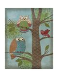 Fantasy Owls Vertical II Prints by Paul Brent