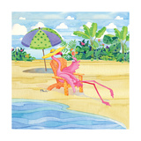 Beach Chair Flamingo Posters by Paul Brent
