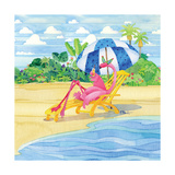 Deck Chair Flamingo Prints by Paul Brent