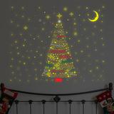 Glinsterende kerstboom met Franse tekst Muursticker
